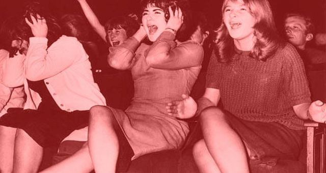 Beatles fans screaming at a concert, c. 1960s